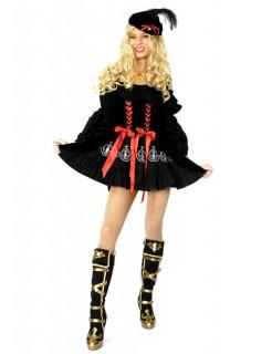 Sexy Piratenkönigin Damenkostüm schwarz-rot