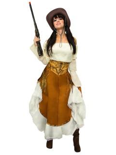 Wildwest Cowgirl Damen-Kostüm braun-beige