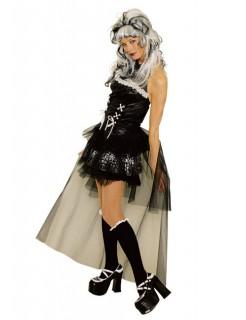 Verruchte Gothic Lady Burlesque Damen-Kostüm schwarz-weiss