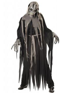 Ani-Motion Skelett Zombiemeister Halloween-Kostüm grau-schwarz