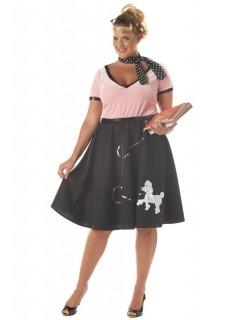 50er Jahre Schönheit Damen-Kostüm rosa-schwarz