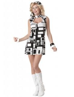 70er Jahre Disco-Lady Damen-Kostüm schwarz-weiss