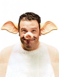 Schweine-Ohren Haarreif Kostümzubehör rosa
