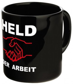 Kaffeetasse Held der Arbeit schwarz-rot-weiss 300 ml