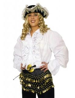 Pirat Rüschenhemd für Sie und Ihn weiss