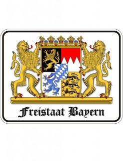 Blechschild Freistaat Bayern weiss-bunt 17x22cm