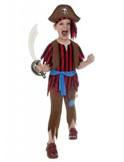 Wilder Pirat Kinder-Kostüm rot-braun