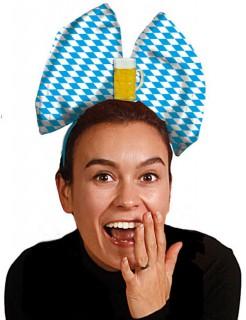 Oktoberfest Schleifen-Haarreif blau-weiss-gelb