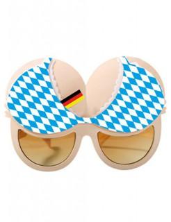 Oktoberfest Busen-Brille Party-Accessoire hautfarben-blau-weiss