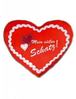 Lebkuchenherz Kissen Süßer Schatz rot-weiss 35x45cm
