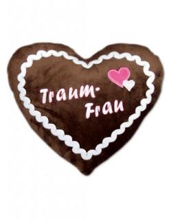 Lebkuchenherz Kissen Traumfrau braun-weiss-rosa 35x45cm