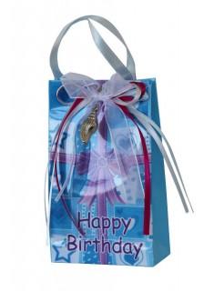 Geschenktüte mit Spieluhr Happy Birthday blau-rosa 12,5 x 7,5 cm