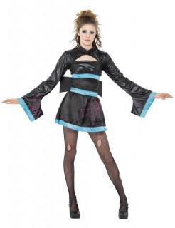Sexy Spinnen-Geisha Damenkostüm schwarz-türkis