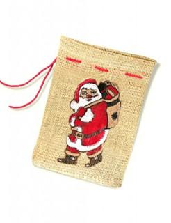 Geschenksack Weihnachten Geschenkidee braun-rot-weiss 25x35cm