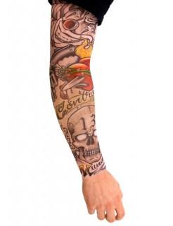 Tattoo-Ärmel Kostüm-Accessoire Bandit bunt