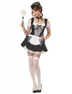 Hausmädchen Damen-Kostüm schwarz-weiss