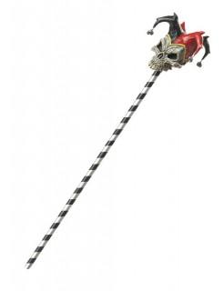 Harlekin Narren-Stab für Erwachsene (102cm) schwarz-weiss