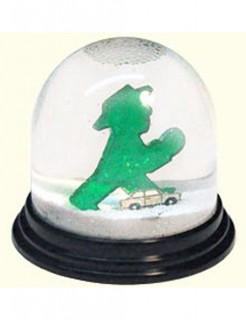 Schneekugel Ampelmännchen weiss-transparent-grün 7x7cm