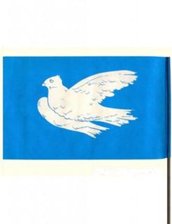 DDR-Papierflagge Friedenstaube Dekoration blau-weiss