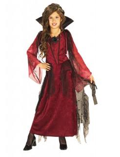 Gothic Vampir Halloween-Kinderkostüm rot-schwarz