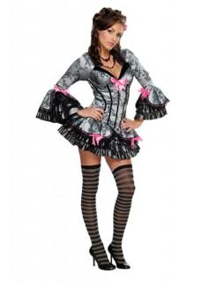 French Kiss Damen-Kostüm grau-schwarz
