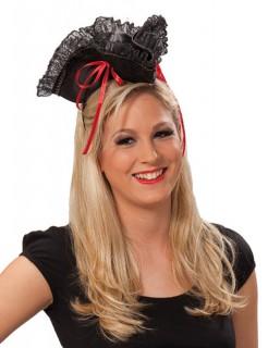 Piratin-Hut Haarreif Miniatur schwarz-rot