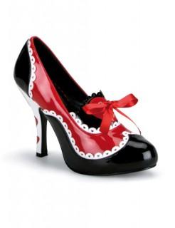 Queen Pumps mit Schleife schwarz-rot-weiss