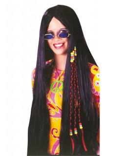 Karneval Hippie 70er Perücke schwarz