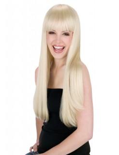 Lange Glatthaar Perücke blond