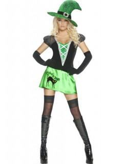 Sexy Wicked Bitch Halloween Damen Kostüm grün-schwarz