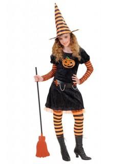 Kürbishexen-Kostüm für Kinder Halloween-Kostüm schwarz-orange