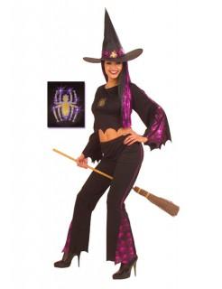 Sexy Spinnen-Hexe Damenkostüm schwarz-lila
