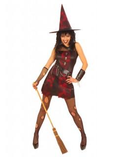 Punk Hexe Damenkostüm schwarz-rot