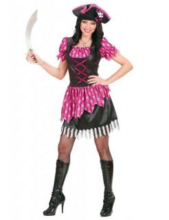 Sexy Freibeuter Piratin Damenkostüm pink-schwarz