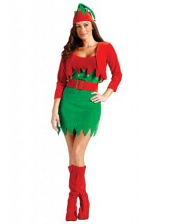 Weihnachts-Elfin Damenkostüm Wichtel grün-rot