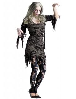 Zombie-Frau Halloween Damenkostüm grau-schwarz