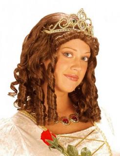 Königin Perücke mit Tiara braun