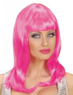 Langhaar Damen-Perücke mit Pony pink
