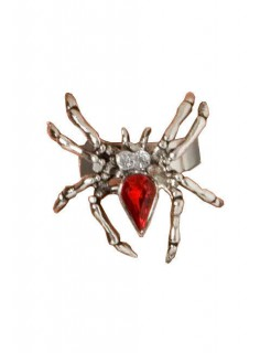 Spinnenring mit Schmuckstein silber-rot