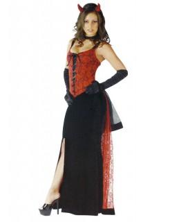 Satansbraut Halloween Damenkostüm Teufelin schwarz-rot