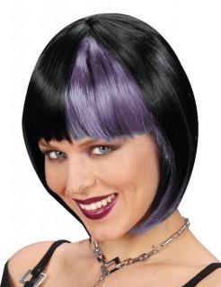 70 Disco Damen Kurzhaar-Perücke schwarz-lila
