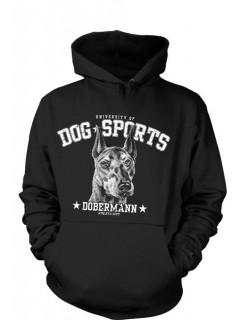 Hoodie Dog Sports Dobermann schwarz-weiss