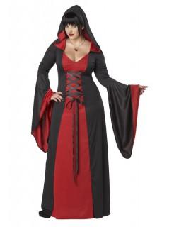 Mittelalter Halloween Damenkostüm Plus Size rot-schwarz