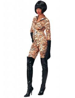Tiger Damenkostüm Bodysuit braun-schwarz