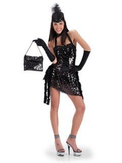 30er Jahre Charleston Damen-Kostüm Pailletten schwarz