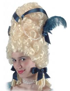 Pompadour Barock Hochfrisur mit Feder blond