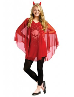 Poncho Devil Halloween Damen-Cape rot