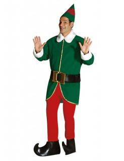 Lustiger Weihnachtself Kostüm Gnom grün-weiss