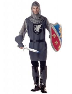 Mittelalter Ritter Kostüm grau-schwarz