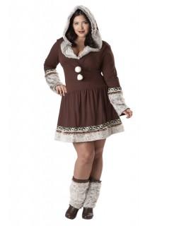 Eskimo Damenkostüm Plus Size braun-beige